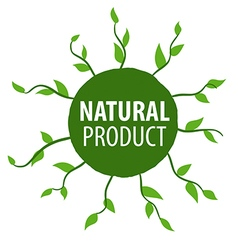 Round floral logo for natural products vector