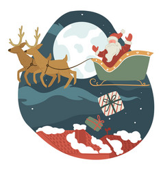 santa claus delivering presents for citizens vector image