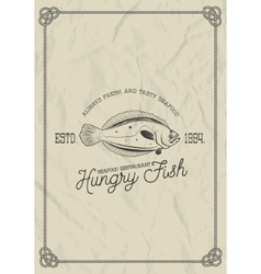 Seafood restaurant label template flounder fish vector