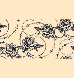seamless pattern with flowers and chains in vector image