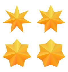 Set four golden seven point stars vector