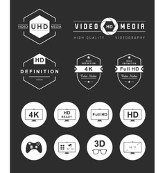 Set Icons and Badges TV and Video vector