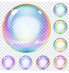 Set of multicolored soap bubbles vector
