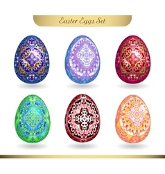 Set of realistic eggs on white background Easter vector