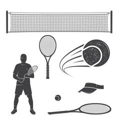 set of tennis equipment silhouettes vector image