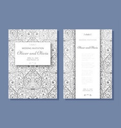 Set of wedding invitation templates cover design vector