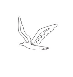 Single continuous line drawing cute albatross vector