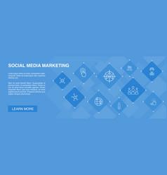 Social media marketing banner 10 icons concept vector