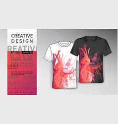 T shirt template print mock-up heart art vector