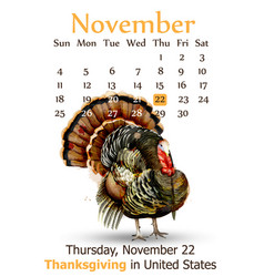thanksgiving day calendar background vector image