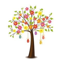 tree with flowers vector image