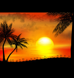 tropical sunrise on sea and sea boat vector image