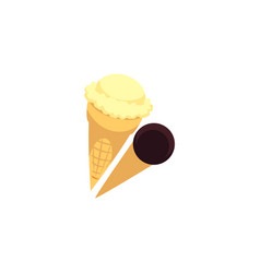 two cones with ice cream balls - vanilla and vector image