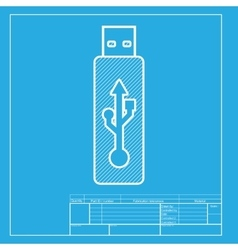 USB flash drive sign White section of icon vector image