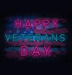 veterans day neon vector image