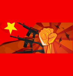 Vietnam war propaganda hand fist strike with arm vector