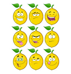 yellow lemon fruit character collection - 2 vector image