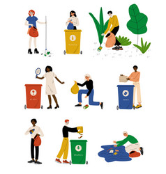 young men and women picking up litter set people vector image