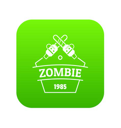 Zombie attack icon green vector