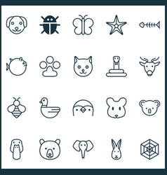 Zoology icons set collection trunked animal vector