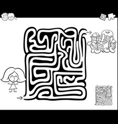 Maze activity game with girl and sweets vector