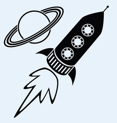 rocket ship and planet saturn vector image