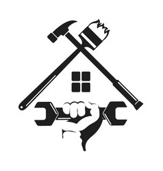symbol home repairs with a tool vector image vector image