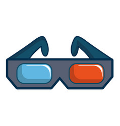 3d cinema glasses icon cartoon style vector image