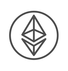 ethereum sign thin line icon for internet money vector image