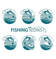 fishing emblems set vector image vector image
