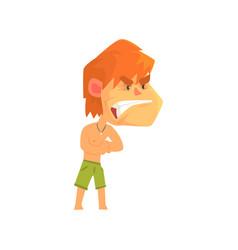 furious young redhead man wearing shorts vector image vector image
