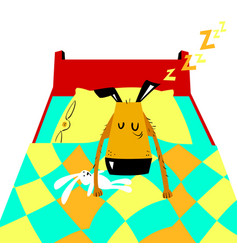 sleeping dog cartoon with cute dog vector image