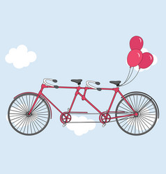 tandem bicycle with hearts balloons vector image
