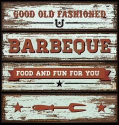 Vintage BBQ Wooden Sign vector image vector image