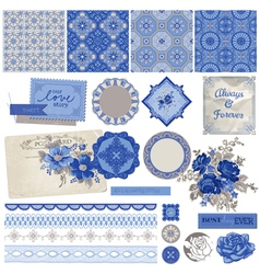 Vintage Porcelain and Flower Set vector image vector image