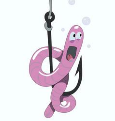worm fishing lure sitting on fishing hook vector image
