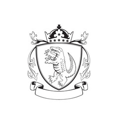 Alligator Standing Coat of Arms Black and White vector image vector image