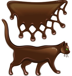 Chocolate decor and cat vector image vector image