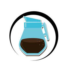 Circular frame with coffee glass jar vector