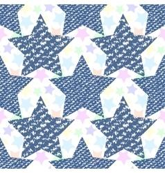 Denim jeans texture seamless pattern stars vector image