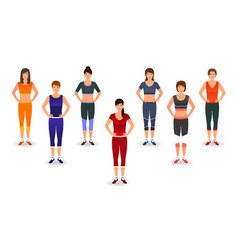 fitness people in sports wear group of women vector image
