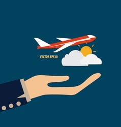 Hands holding plane vector image vector image