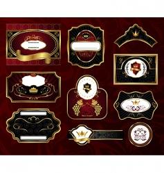 set black gold framed labels vector image vector image
