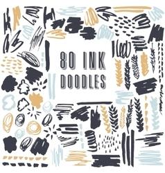 Set of 50 grungy artistic doodles vector
