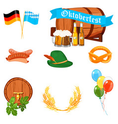 set of flat design icons for oktoberfest isolated vector image vector image