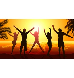 Silhouettes of Friends Jumping in the Sunset vector image