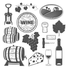 Wine Monochrome Objects Set vector image vector image
