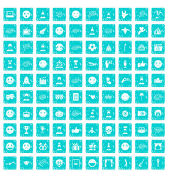 100 emotion icons set grunge blue vector image