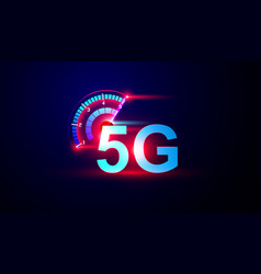 5g network internet logo with speed meter vector image