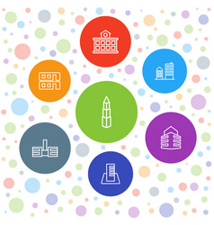 7 downtown icons vector image